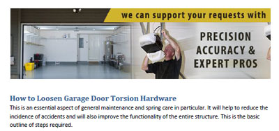 How to Loosen Torsion Hardware - Garage Door Repair Camas